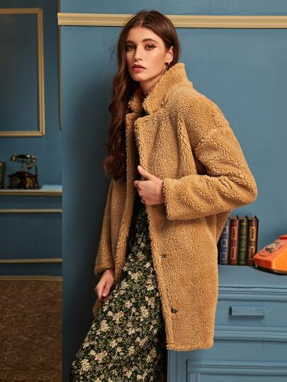 Slant Pocket Button Front Teddy Coat