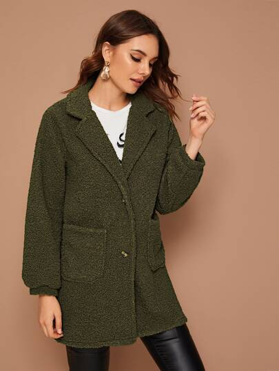 Lapel Neck Dual Pockets Teddy Coat