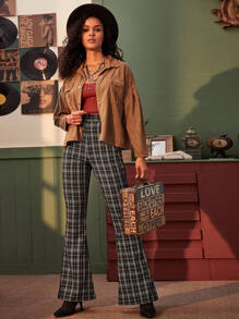 Plaid Slant Pocket Flare Pants