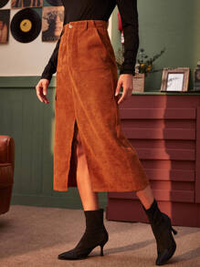 Corduroy Slant Pocket Split Front Skirt
