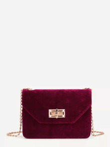 Twist Lock Velvet Chain Crossbody Bag