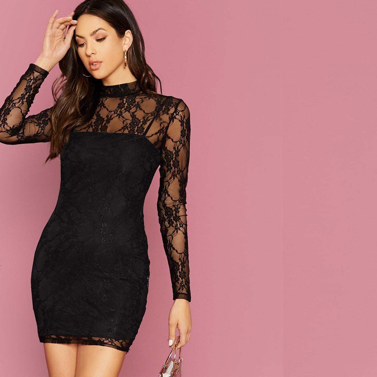 Kleid mit Stehkragen und Spitzen ohne Cami
