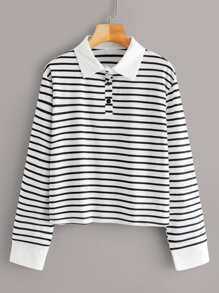 Polo Neck Striped Long Sleeve Tee