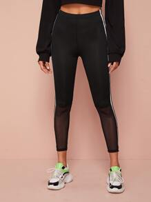 Mesh Panel Side Stripe Leggings