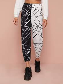 Two Tone Geo Print Tapered Pants