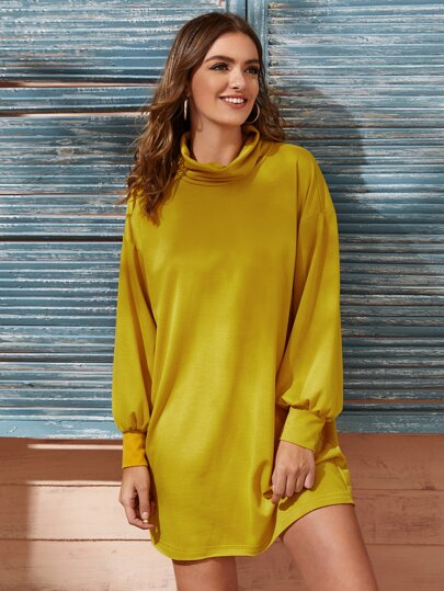 Cowl Neck Bishop Sleeve Sweatshirt Dress