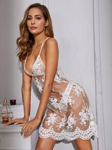Floral Sheer Embroidery Mesh Dress With Thong