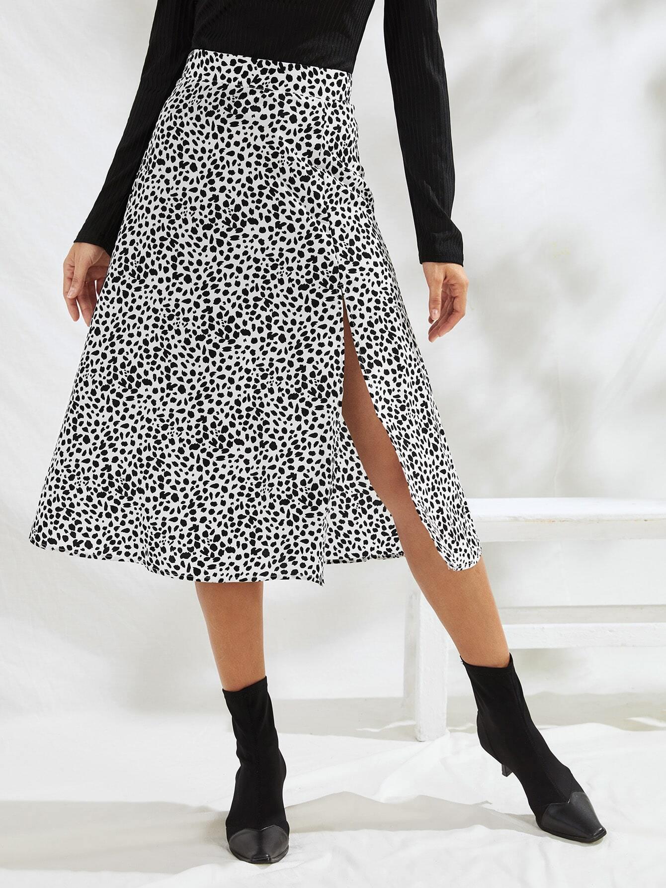Speckled Print High Slit A-Line Midi Skirt thumbnail