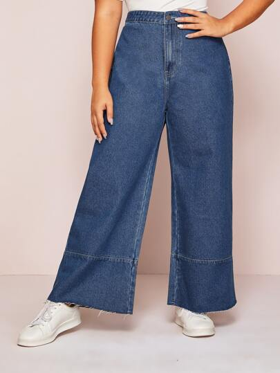 Plus High Waist Wide Leg Jeans