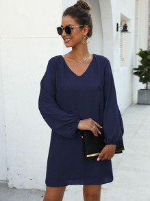 V-neck Blouson Cuff Tunic Dress