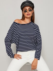 Drop Shoulder High Low Stripe Tee