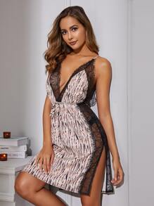 Lace Trim Split Side Satin Dress