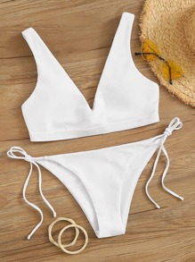 V Neck Top With Tie Side Bikini Set