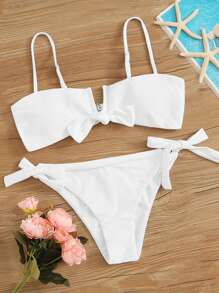 Knot Front Top With Tie Side Bikini Set