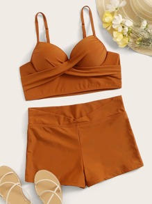 Criss Cross Top With Shorts 2piece Swim