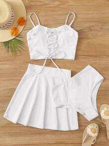 Lace Up Front 3piece Co-ord Tankini Set