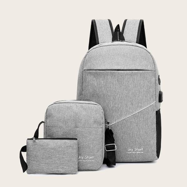 3pcs Men Zip Front Backpack With Clutch, Grey