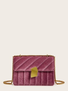 Stitch Detail Velvet Chain Crossbody Bag
