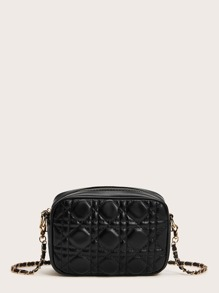Quilted Detail Chain Crossbody Bag