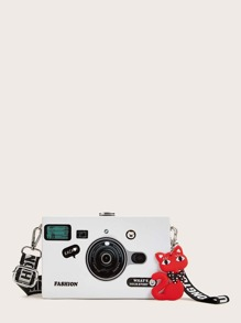Camera Design Cat Charm Crossbody Bag