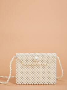 Faux Pearl Beaded Crossbody Bag