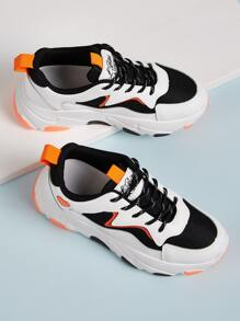 Lace-up Colorblock Chunky Trainers