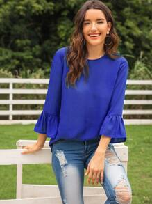 Flounce Sleeve High Low Hem Blouse