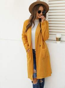 Dual Pocket Single Button Teddy Coat