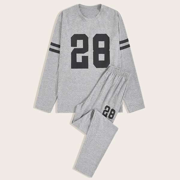 Men Letter Graphic Tee & Pants PJ Set, Grey