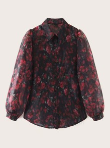 Lantern Sleeve Allover Rose Print Blouse