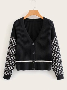 Contrast Sleeve Ribbed Knit Cardigan