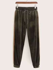 Drawstring Waist Velvet Sweatpants