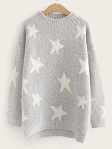 Star Print High Low Jumper