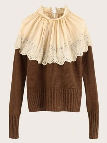 Contrast Eyelet Embroidery Ribbed Knit Jumper