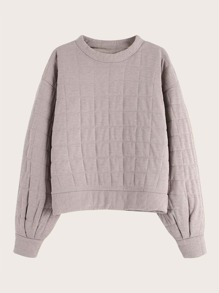 Drop Shoulder Square Quilted Sweatshirt