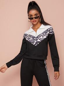 Zip Ring Half Placket Zebra Stripe Graphic Sweatshirt
