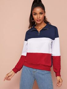 Zip Ring Half Placket Colorblock Sweatshirt