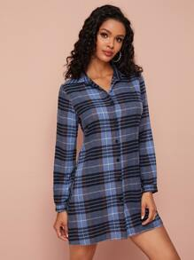 Plaid Button Through Shirt Dress