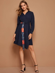Solid Surplice Front Shirt Dress With Floral Print Belt