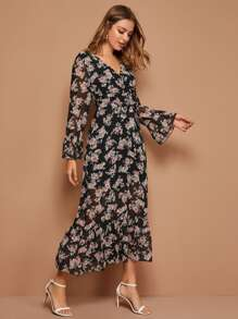 Floral Print Surplice Front Belted Chiffon Dress