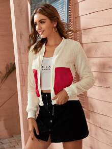 Color-Block Zip Up Teddy Jacket