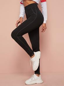Elastic Waist Topstitching Cropped Leggings