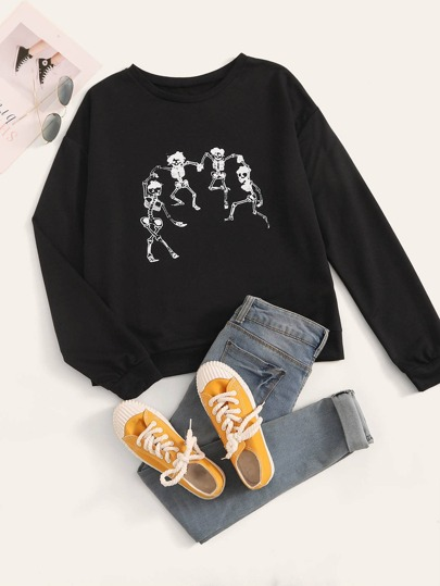 Halloween Skeleton Print Round Neck Sweatshirt
