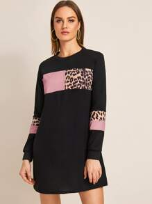 Contrast Leopard Color-Block Sweatshirt Dress