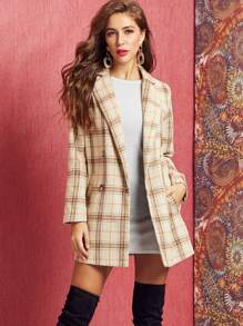 SBetro Double Breasted Plaid Coat Without Belt
