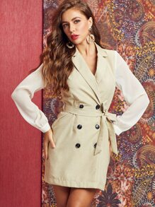 SBetro Two Tone Double Button Belted Blazer Dress