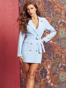 SBetro Double Button Wrap Belted Blazer Dress