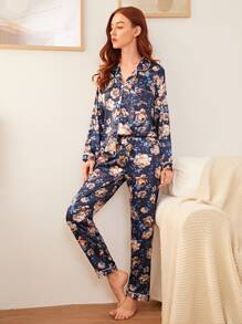 Floral Satin Button Front PJ Set
