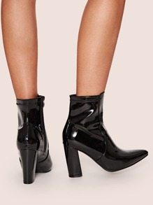 Faux Patent Leather Block Heel Boots