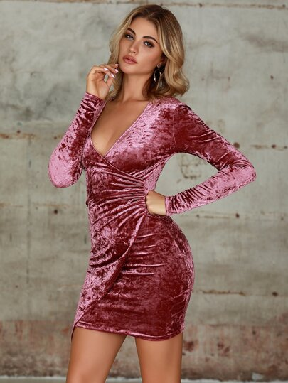Double Crazy Plunge Neck Wrap Velvet Bodycon Dress